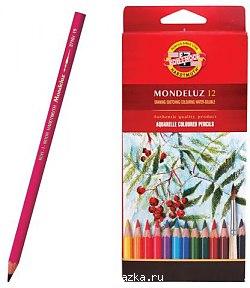 Карандаши цветные 12 цв K-I-N Mondeluz акварельные Натюрморт
