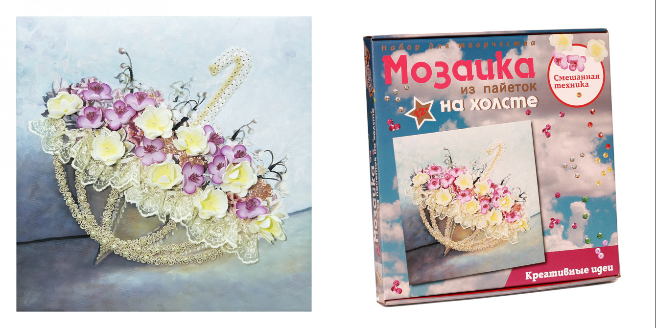 Творч Мозаика из пайеток на холсте 30*30 Романтика дождя