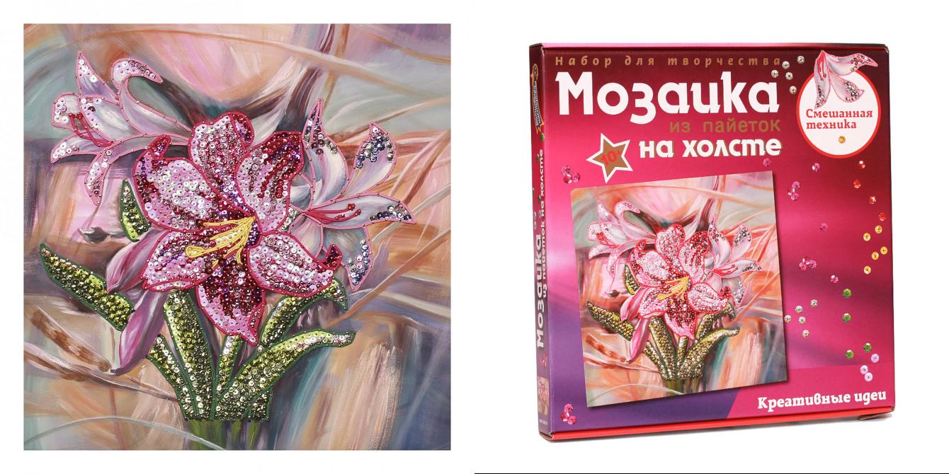 Творч Мозаика из пайеток на холсте 30*30 Лилии