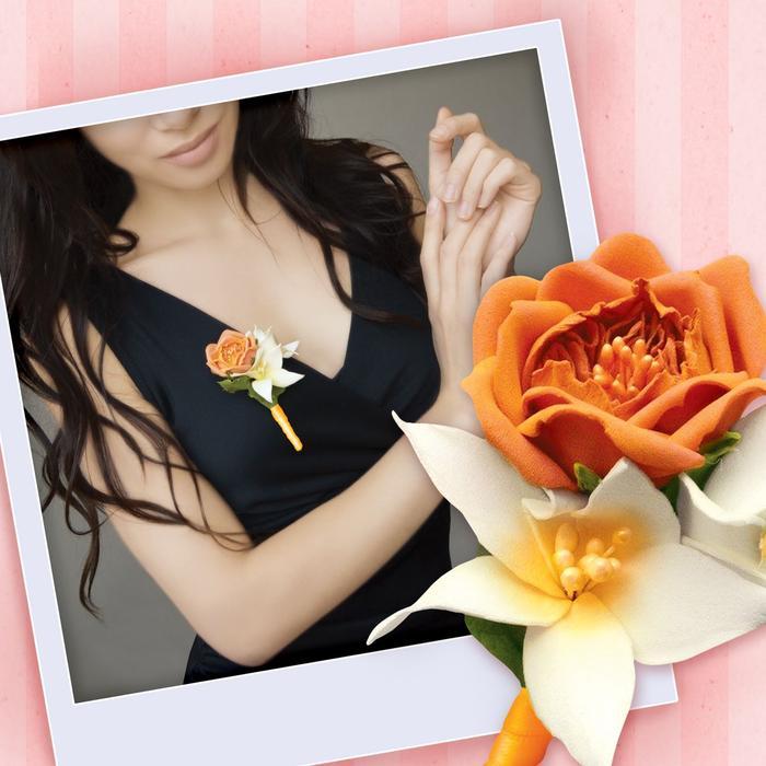 Творч Бутоньерки из фоамирана Оранжевая роза