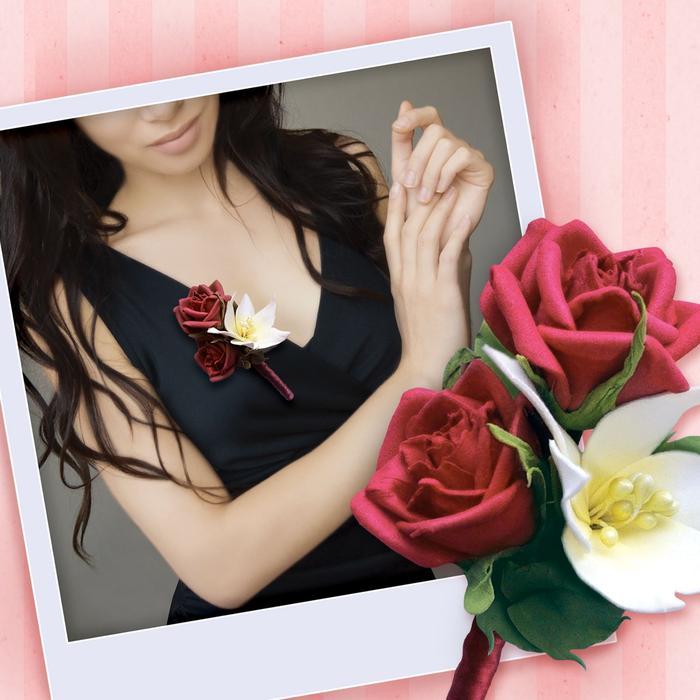 Творч Бутоньерка из фоамирана Красная роза