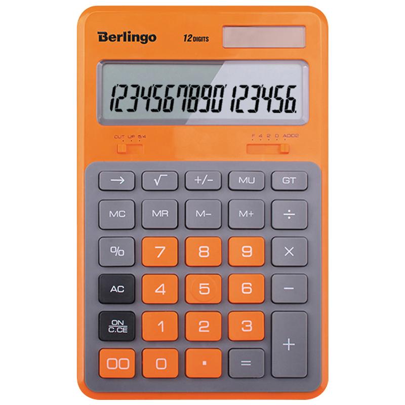 Калькулятор 12 разр. Berlingo Hyper оранжевый двойн питание настольный