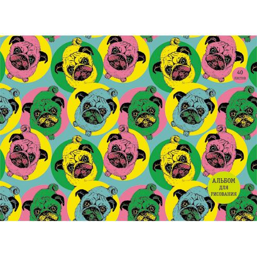 Альбом д/рис 40л спир Яркие мопсы (графика) 110г/м2