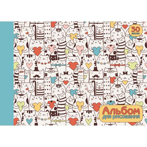 Альбом д/рис 30л Счастливые коты (орнамент) склейка 110г/м2