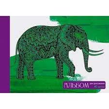 Альбом д/рис 40л Игра цветов (слон) на склейке 110г/м2