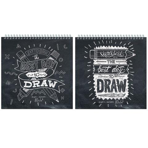 Блокнот А4 60л спир Sketchbook Скетчбук 250*250мм без линовки 80г/м2