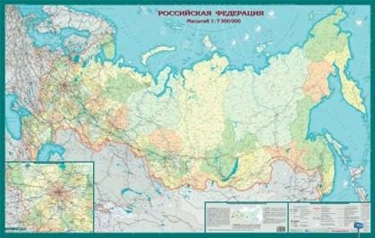 Карта Российская Федерация: Политико-административная (7 млн) антибл. ламин