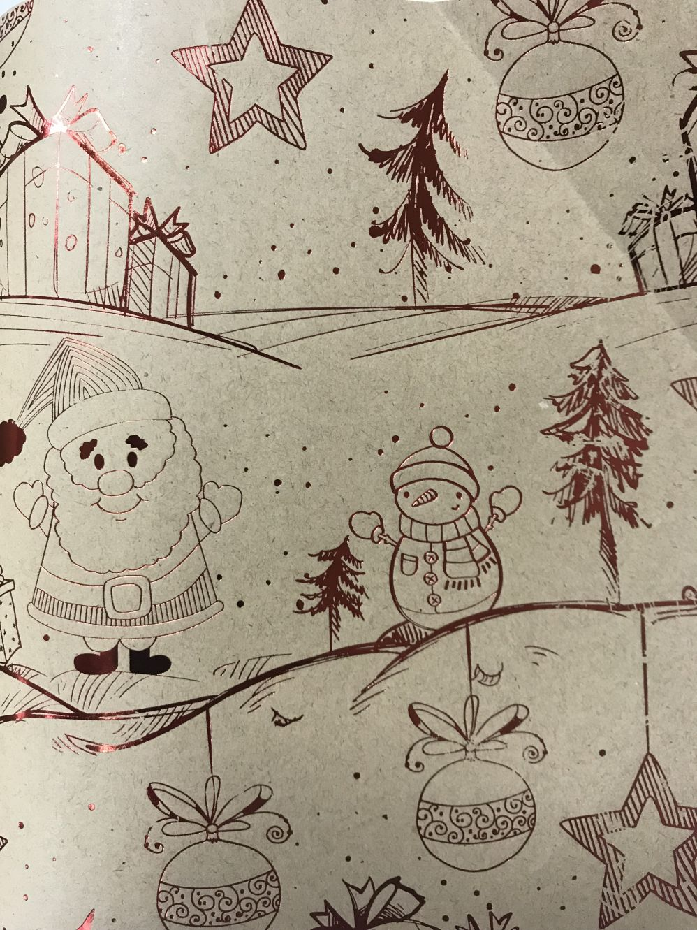 Праз Бумага упак. в рулоне НГ 70*100 Новогодняя крафт Снеговики