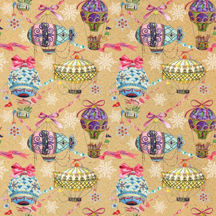 Праз Бумага упак. в рулоне НГ 70*100 Новогодняя Праздничные шары крафт
