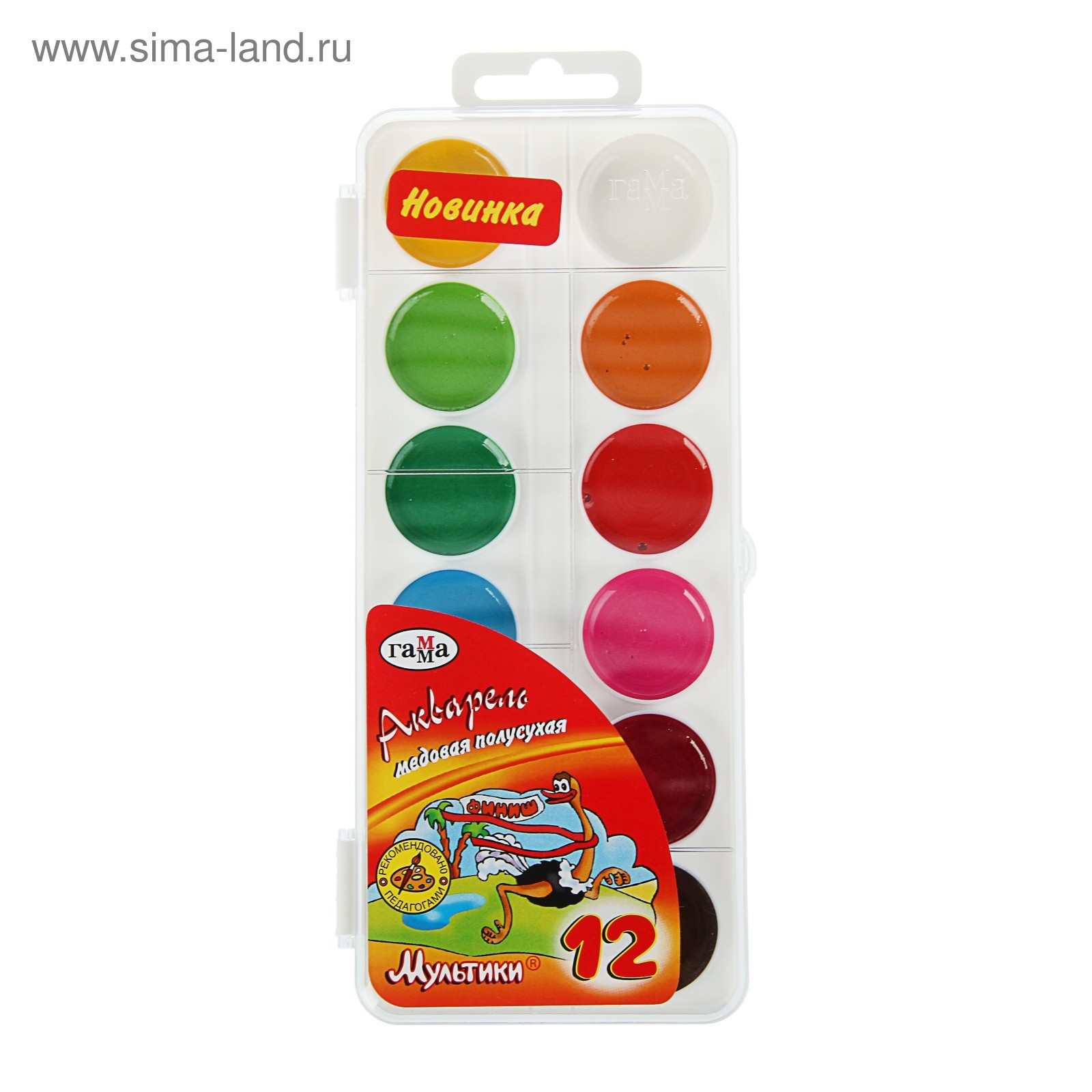 Краски 12цв Мультики б/к пл/уп пластик