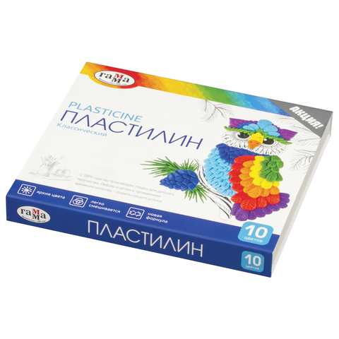 Пластилин 10 цв Классический + стек