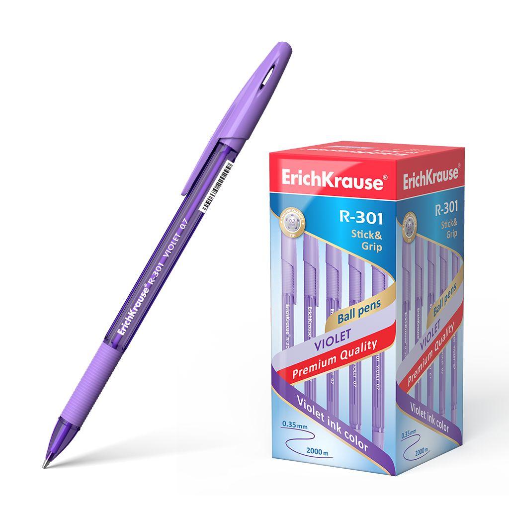 Ручка шариковая фиолетовая EK R-301 GRIP Violet Stick 0.7мм полупрозр