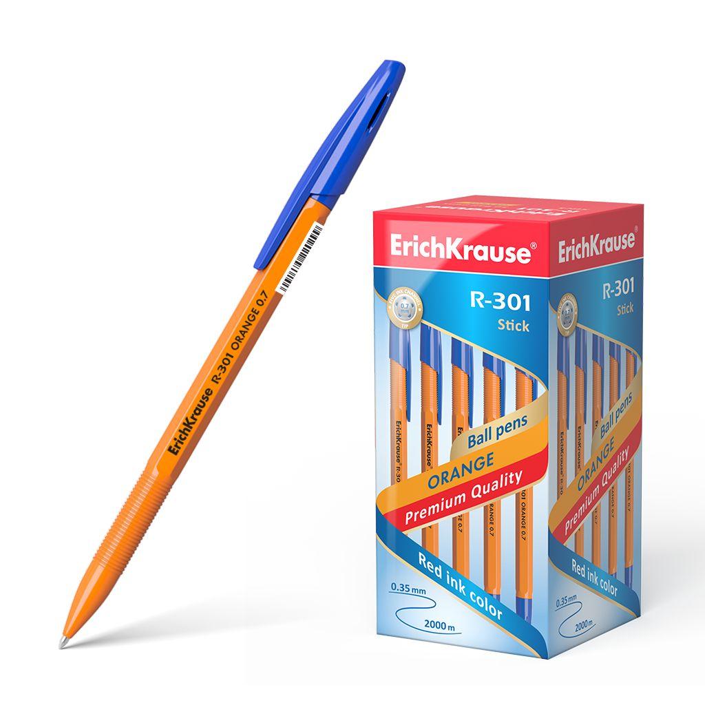 Ручка шариковая синяя EK R-301 Orange Stick оранж корпус 0.7