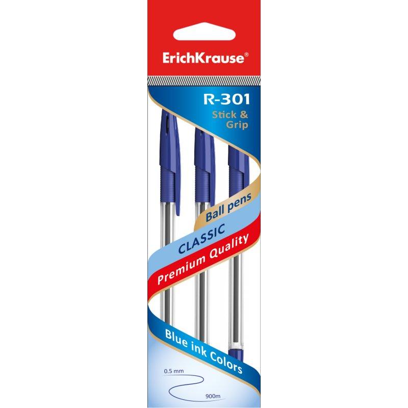 Ручка шариковая синяя EK R-301 CLASSIC Stick&Grip 1мм