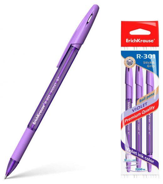 Ручка шариковая фиолетовая EK R-301 Violet Stick&Grip 0.35мм