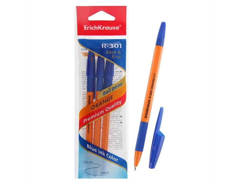 Ручка шариковая синяя EK R-301 ORANGE оранжевый корпус