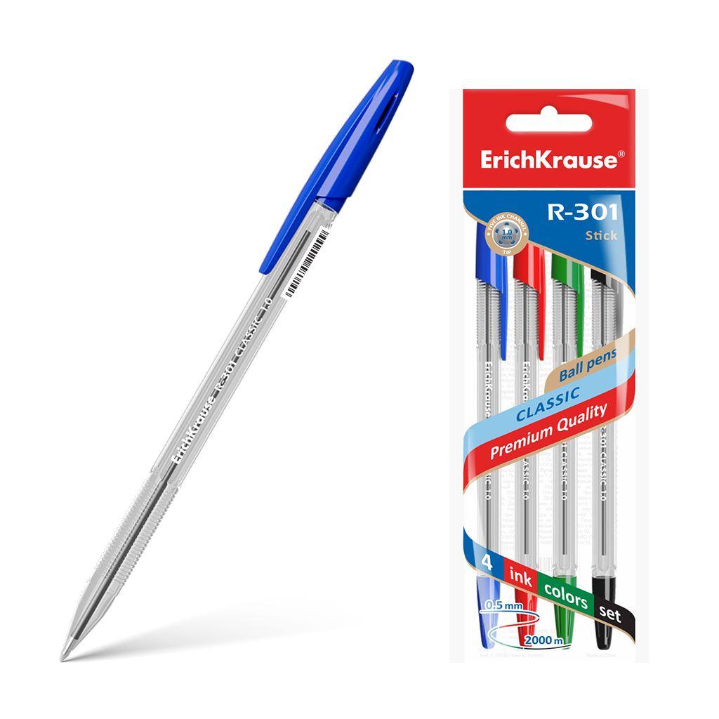 Ручки шариковые 4цв EK R-301 прозр корпус 0.5мм