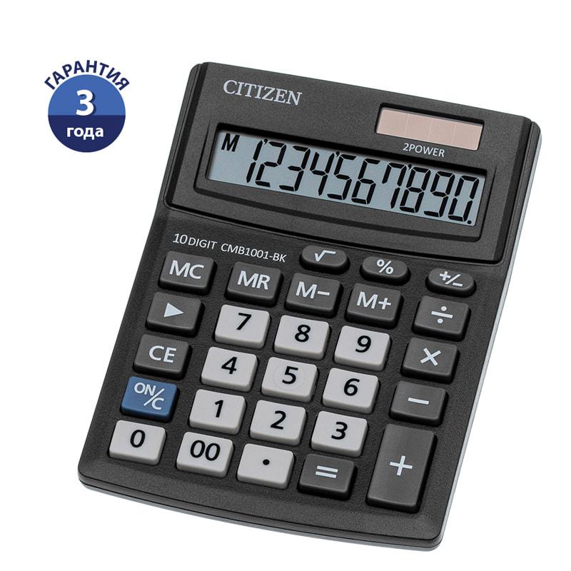 Калькулятор 10 разр. CITIZEN 100*136*32мм черный