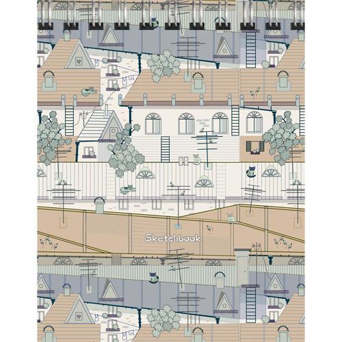 Блокнот А5 80л спир Крыши города (графика) скетчбук нелин