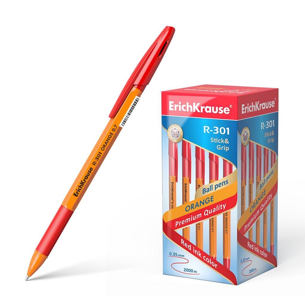 Ручка шариковая красная EK R-301 Grip Orange корп оранж резиновый держ