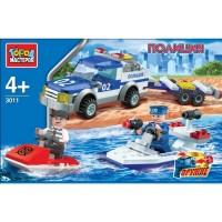 Конструктор Полиция: Пикап с лодкой с фигурками 153дет