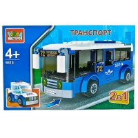 Конструктор Транспорт 2-в-1 автобус + машина полиция