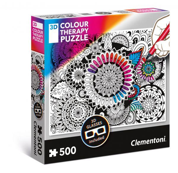 Пазл 500 Origami 35053 Цветок +3D очки Clementoni для раскрашивания