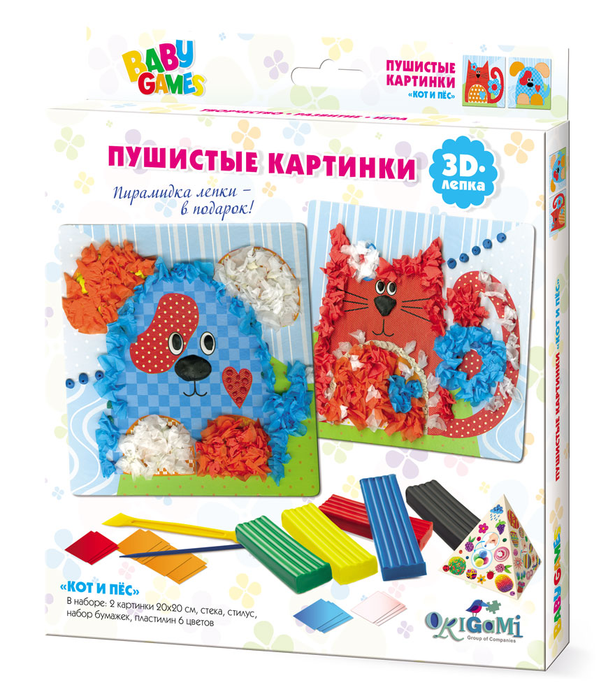 Творч Лепка Пушистые картинки Кот и Пес 3D