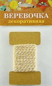 Веревка двухцветная коричневая с белым