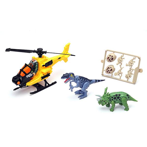 Набор Динозавр Трицератопс и охотник на вертолете