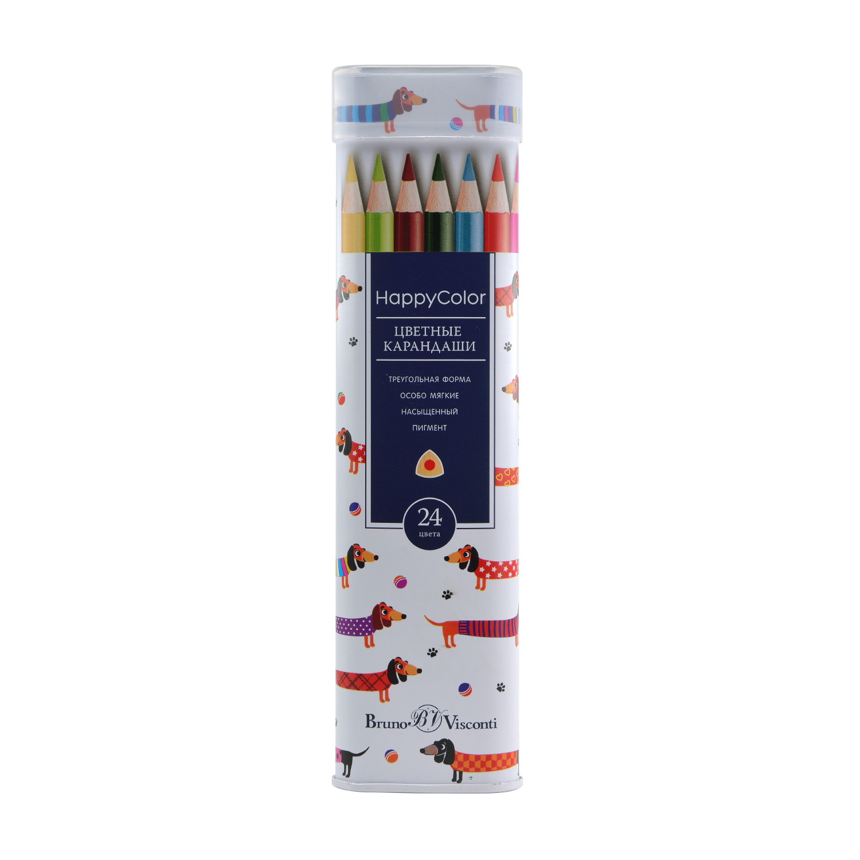 Карандаши цветные 24 цв BV Happy Color треуг желез пенал