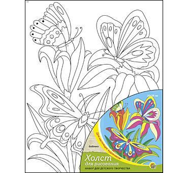Холст для рисования по номерам 20х25 Бабочки