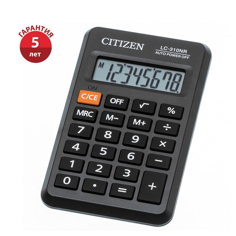 Калькулятор 8 разр. CITIZEN черный 69*114*14мм