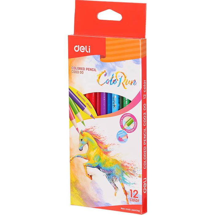 Карандаши цветные 12 цв Deli ColoRun трехгранные