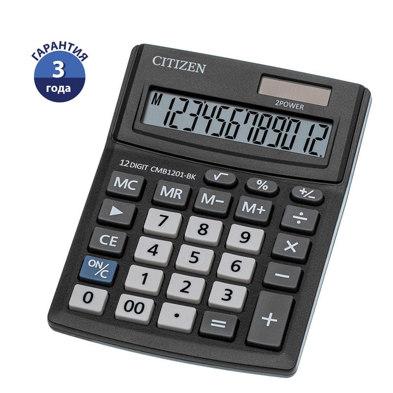 Калькулятор 12 разр. CITIZEN 100*136*32мм черный