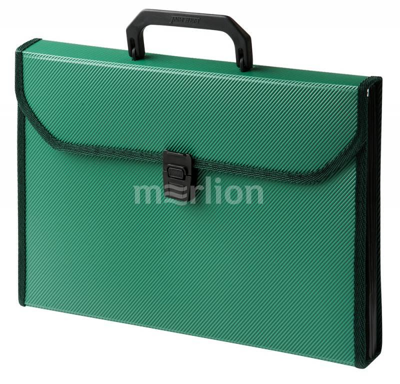 Портфель с ручкой 6отд Бюрократ пластик ребристый зеленый