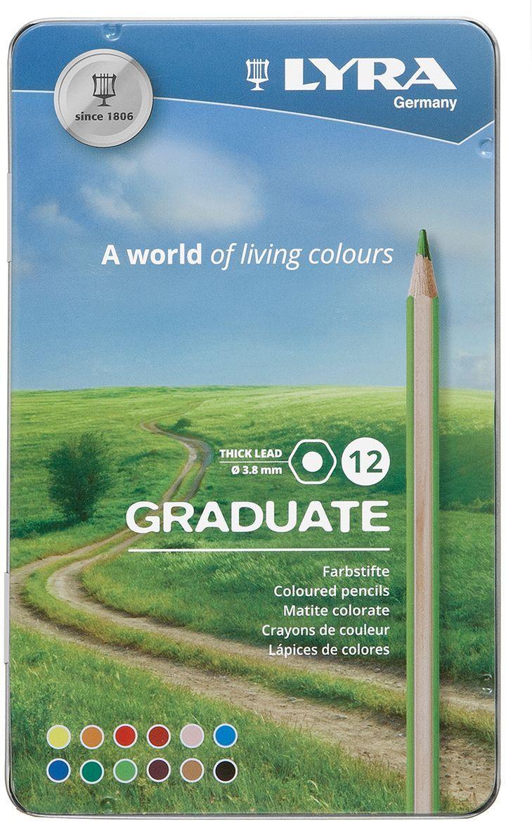 Карандаши цветные 12 цв Lyra Graduate Permanent гексагональные мет/уп