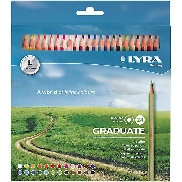 Карандаши цветные 24 цв Lyra Graduate Permanent гексагональные мет.кор