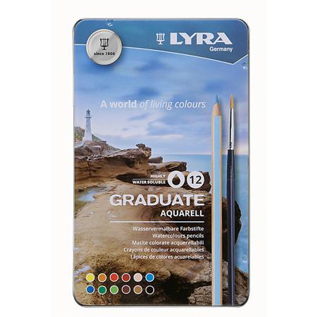 Карандаши цветные 12 цв акварел Lyra Permanent мет/кор d3,3мм