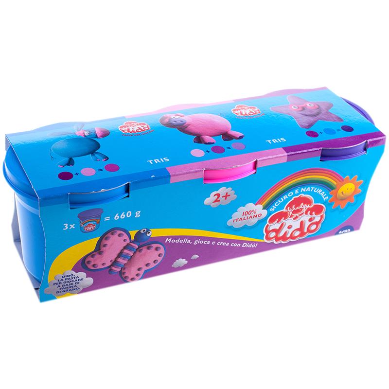 набор д/лепки Dido 3 цв 220гр синяя, лиловая, розовая