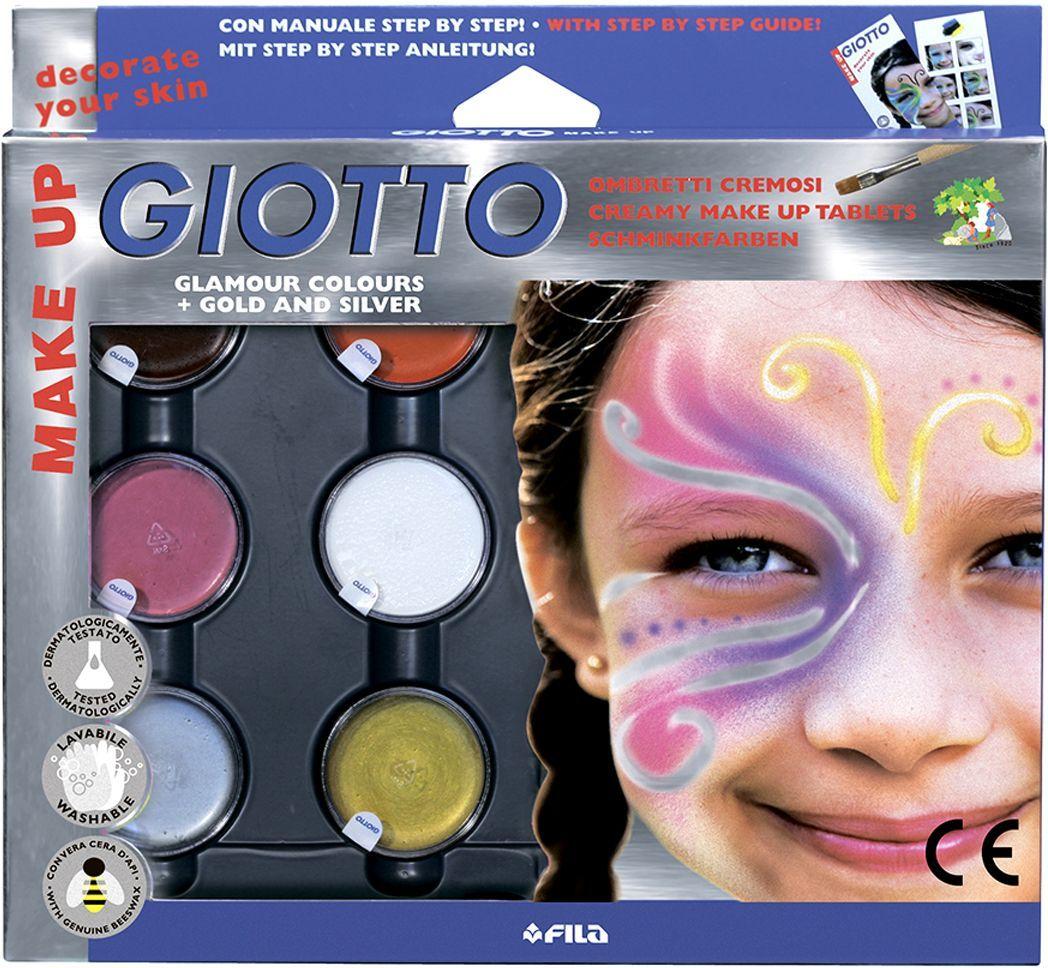 Грим 6цв Giotto Make up в баночках + кисть, спонж