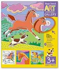 Трафареты Быстроногие лошадки: 3 пластиковые основы