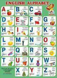 Плакат English Alphabet А2 вертик зеленый фон