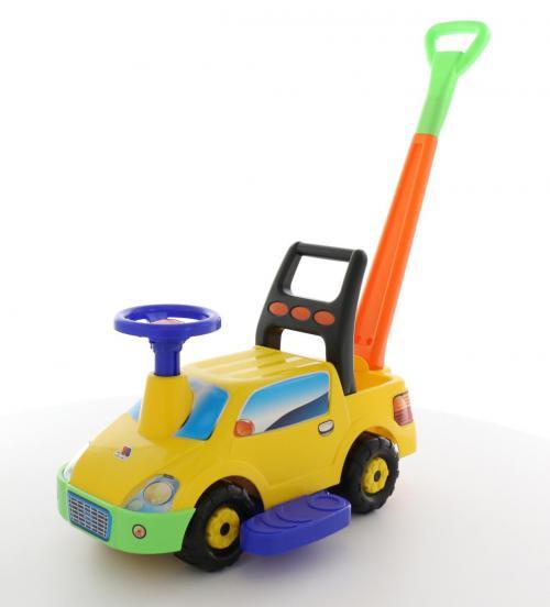 """Автомобиль-каталка """"Пикап"""" с ручкой - №3 (жёлтый)"""