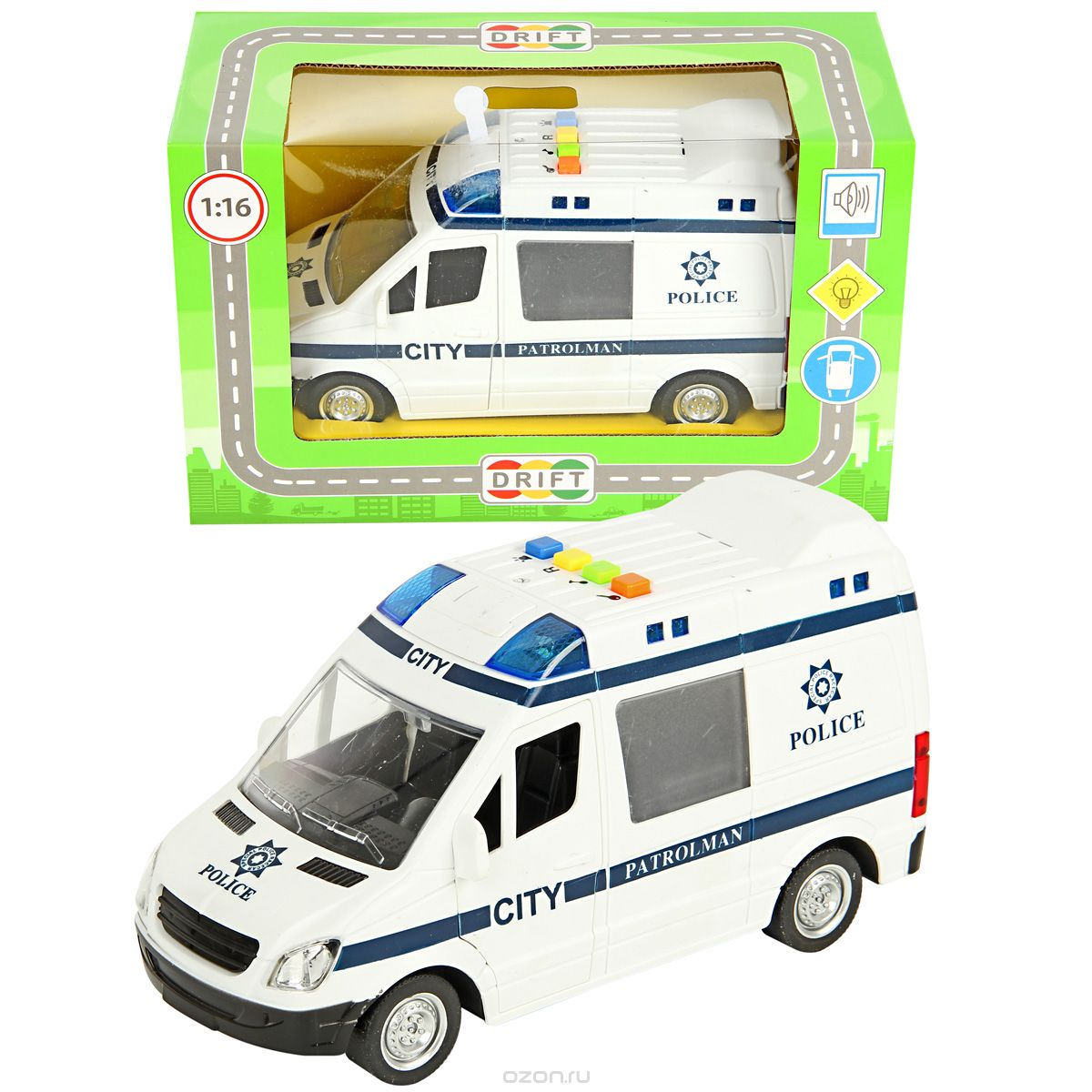 Машина Полиция фрикц., свет, звук, 27,5*12*17