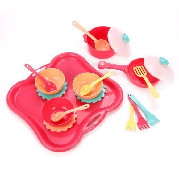Набор посуды с подносом Карамель 19пр пласт