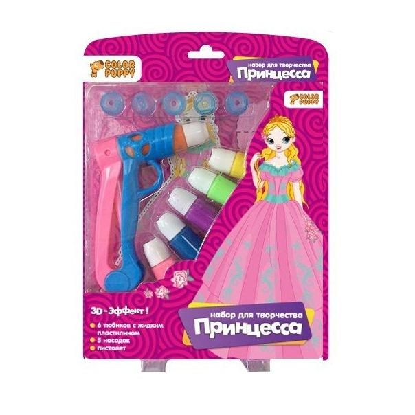 Творч Набор Принцесса с жидким пластилином 6цв, пистолет